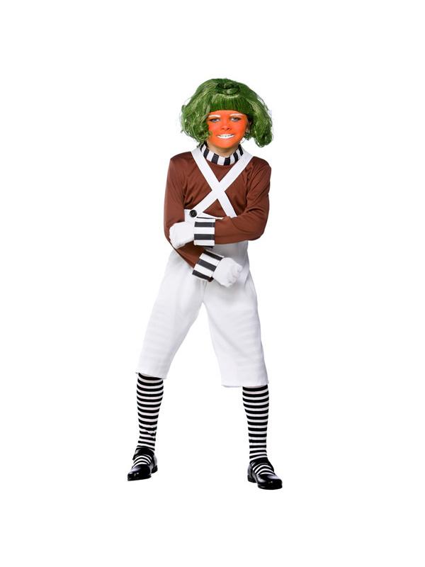 Factory Worker & Wig Boys Fancy Dress Costume Oompa Loompa Kids Book Week