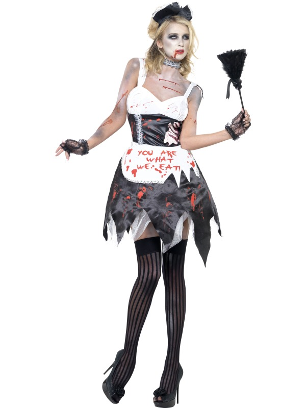 Adult Fever Zombie French Maid Outfit Fancy Dress Costume ...