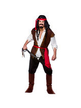 View Item Adult Caribbean Pirate Fancy Dress Costume Buccaneer Swashbuckler Captain Jack