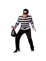Men's Black And White Burglar Costume