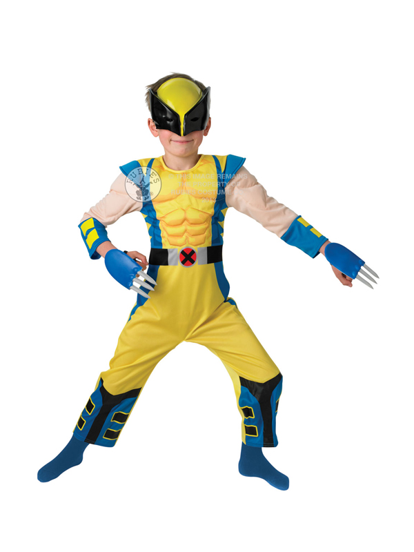 Child marvel wolverine fancy dress costume superhero x men comic book