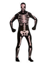 View Item Adult 2nd Skin Skeleton Fancy Dress Costume Halloween Bodysuit Horror Mens Gents