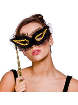 Lace Black And Gold Eye Mask With Handle