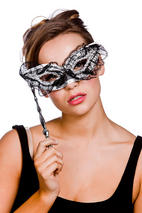 Lace Black And Silver Eye Mask With Handle