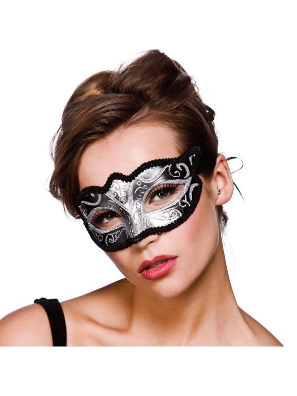 Verona Eye Mask - Silver & Silver Glitter