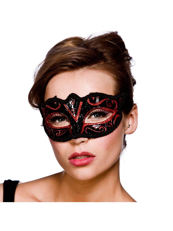 Verona Eye Mask - Red Glitter
