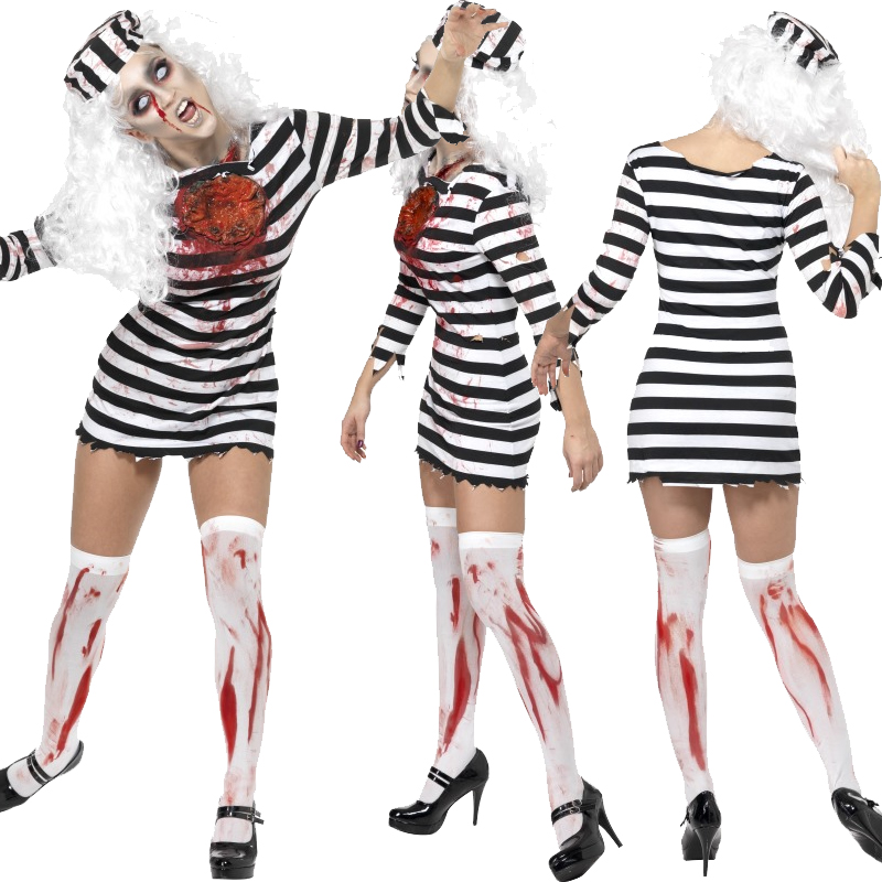 Adult Zombie Ladies Costume and Tights Halloween Fancy Dress ...