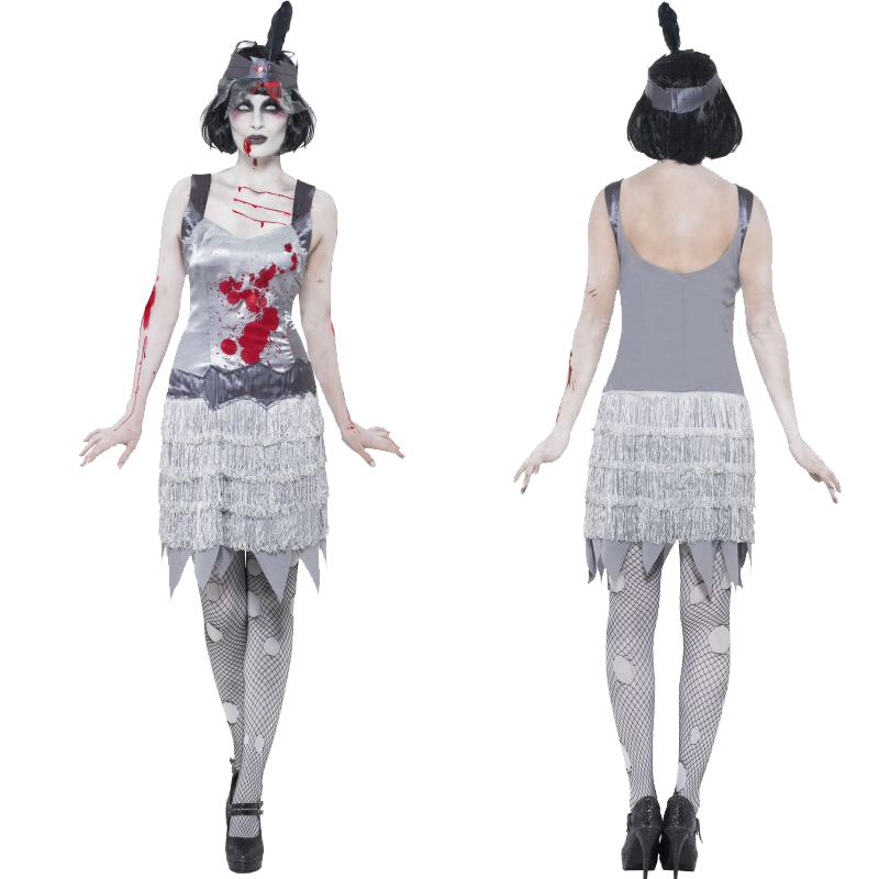 Adult-Halloween-Fancy-Dress-Outfit-Zombie-Ladies-Costume-and-Tights-New-Horror