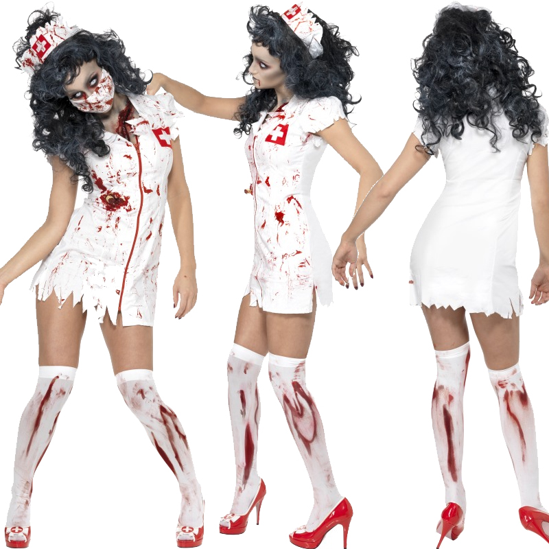 d8343806d4e81 Adult Zombie Ladies Costume and Tights Halloween Fancy Dress Outfit ...