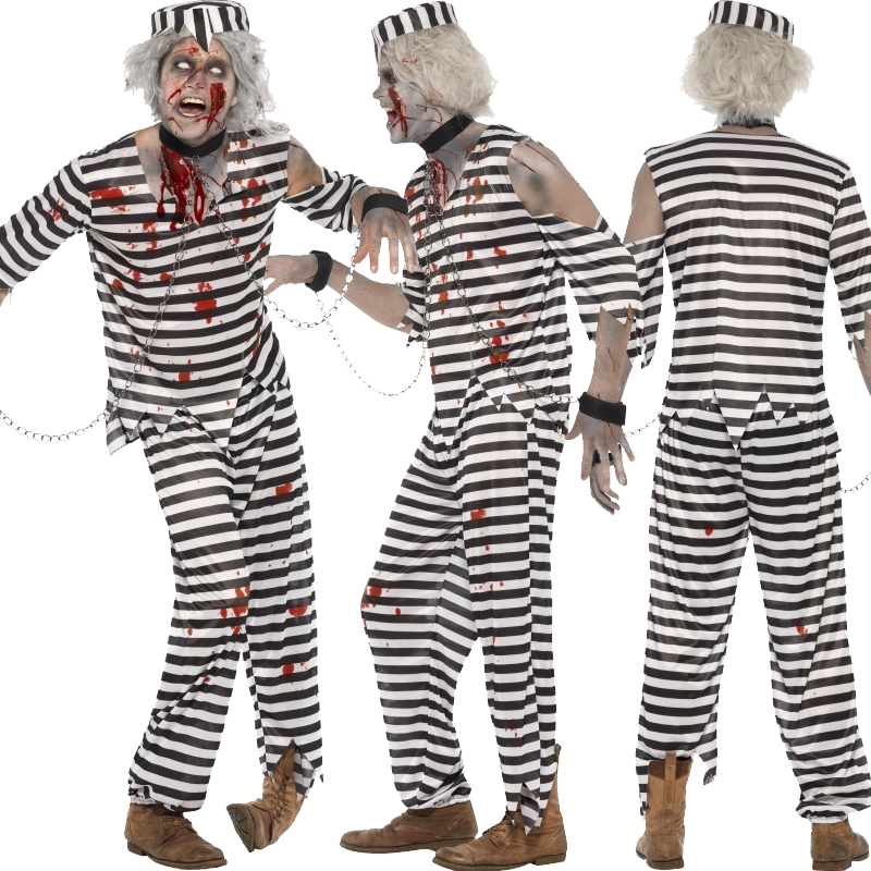 Adult Zombie Fancy Dress Costume Outfit Halloween Undead Make Up ...