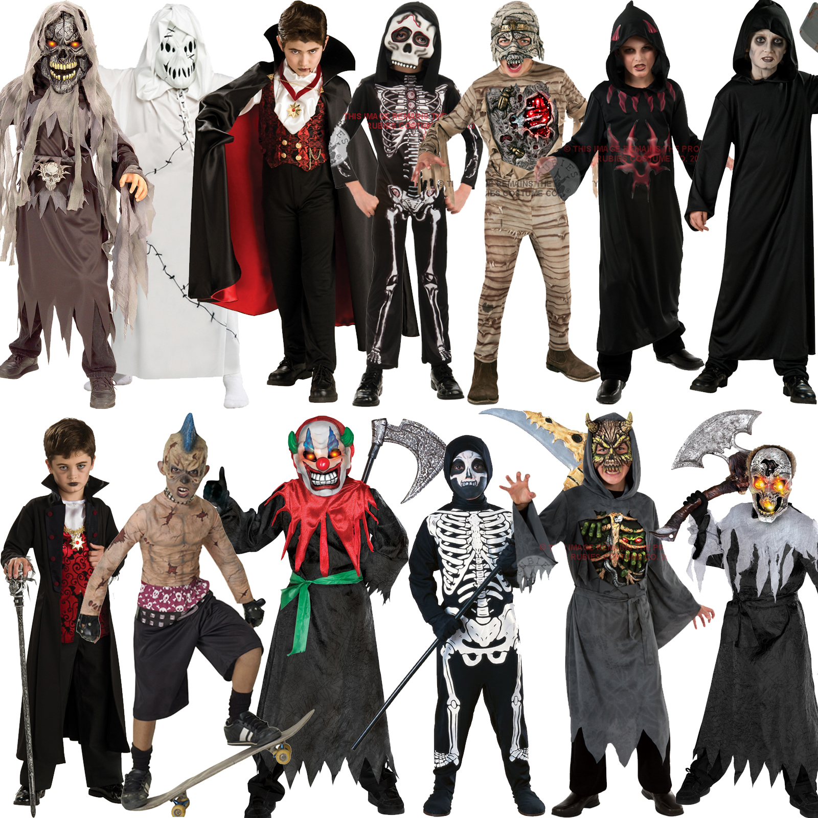 Boys Halloween Outfit Mask Scary Fancy Dress Costume Movie Kids ...