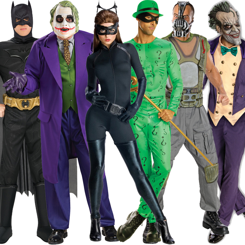 Image is loading Official-Adult-Batman-Catwoman-Joker-Bane-Riddler-Fancy- & Official Adult Batman Catwoman Joker Bane Riddler Fancy Dress Outfit ...
