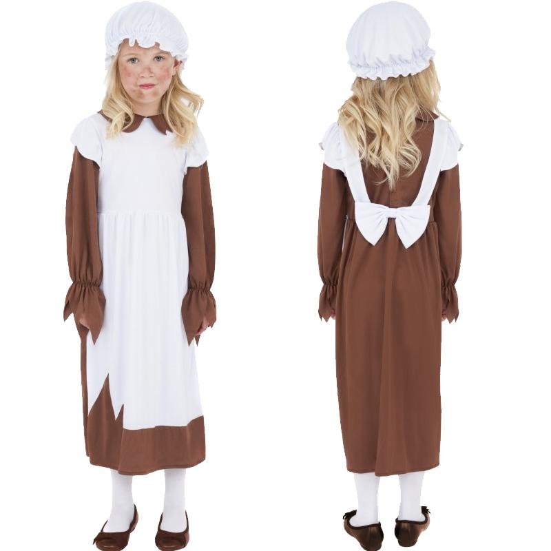 Child-Victorian-Poor-Girl-Fancy-Dress-Book-Week-Kids-Maid-Costume-Hat-Mop-Cap