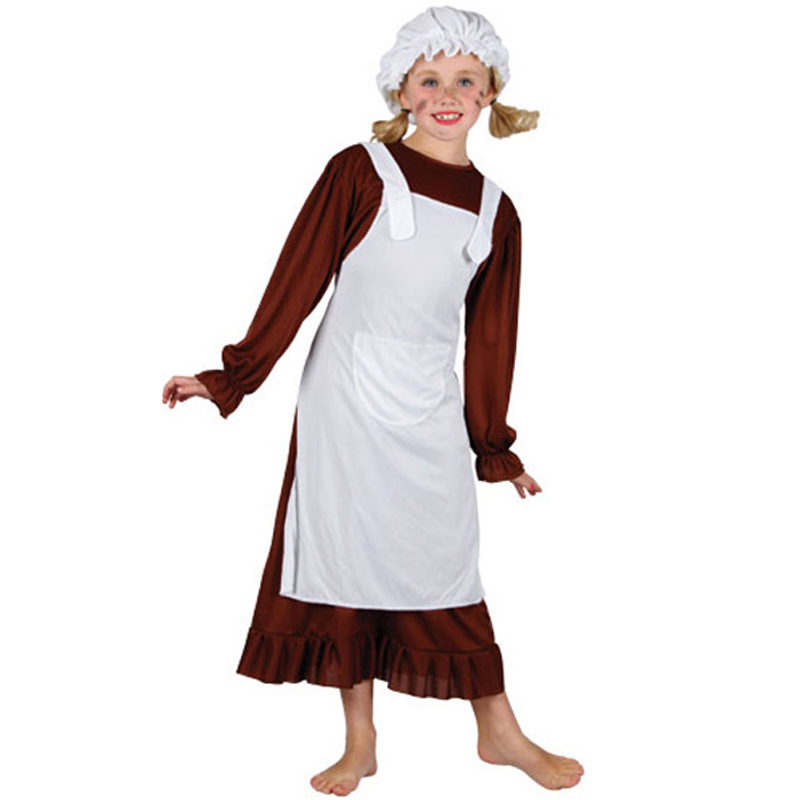 Child-Victorian-Poor-Girl-Fancy-Dress-Book-Week-Kids-Maid-Costume-Hat-Mop-Cap