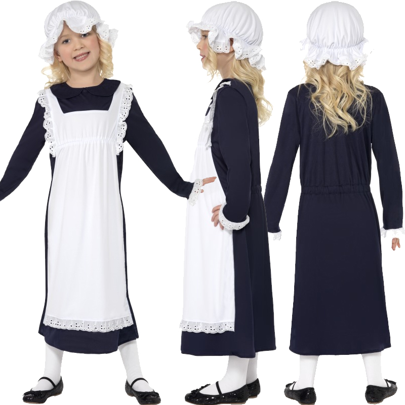Child-Victorian-Poor-Girls-Fancy-Dress-Book-Week-Kids-Costume-Hat-Mop-Cap-New