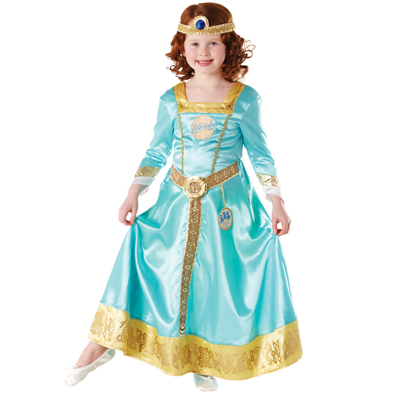 Cinderella Princess Character Dress Child 3t 4t 5 6 7: New Merida Brave Costume & Wig Girls Disney Princess Kids