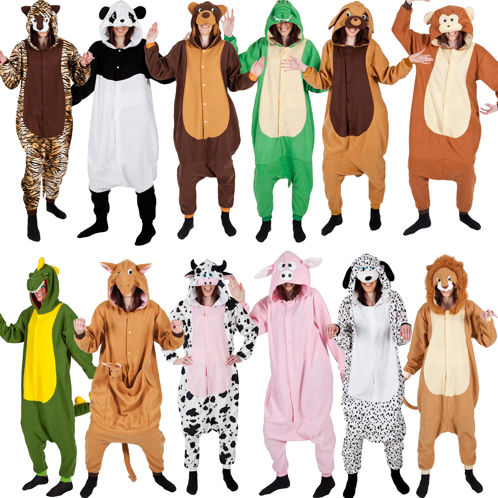Adult Onesie Animal Pyjamas Bodysuit Fancy Dress Costume Outfit New Mens Ladies