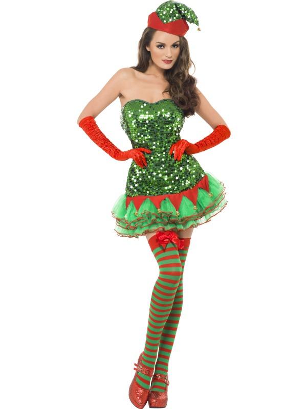 Adult elf sequin tutu dress outfit fancy dress costume christmas xmas