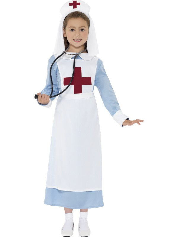 Child-WW1-Nurse-Outfit-Fancy-Dress-Costume-Doctor-Hospital-Kids-Girls