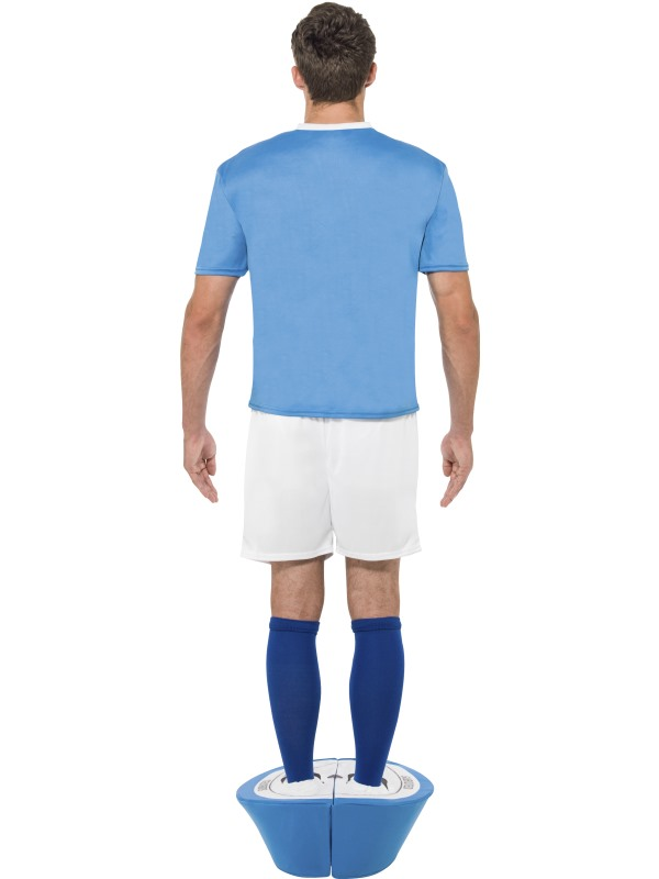Adult Subbuteo Blue Strip Outfit Fancy Dress Costume Football Soccer Game Mens