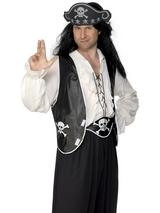 View Item Adult Pirate Black White Set Fancy Dress Costume Accessory Caribbean Mens Gents