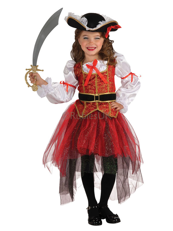 Child Princess Of The Seas Fancy Dress Costume & Hat Pirate Captain Kids Girls