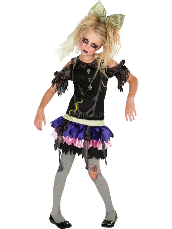 Child Zombie Doll Outfit Fancy Dress Costume Halloween The