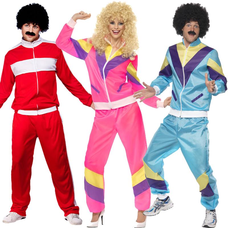 80s Scouser Shell Suit Fancy Dress Mens Ladies Tracksuit Costume Adult 1980/'s