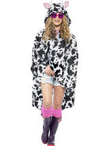 View Item Adult Cow Party Poncho With Hood Fancy Dress Animal Coat Cloak Mens Ladies
