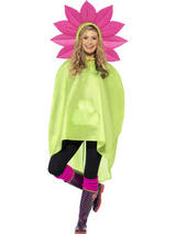 View Item Adult Flower Party Poncho With Hood Fancy Dress Coat Cloak Mens Ladies