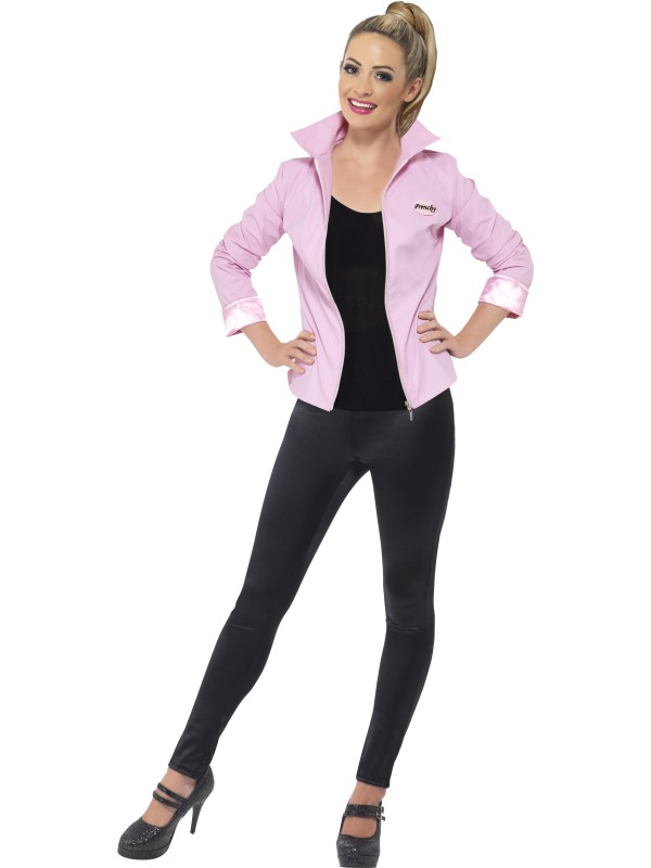 adult grease pink ladies jacket fancy dress costume 1950s rizzo frenchy marty ebay. Black Bedroom Furniture Sets. Home Design Ideas