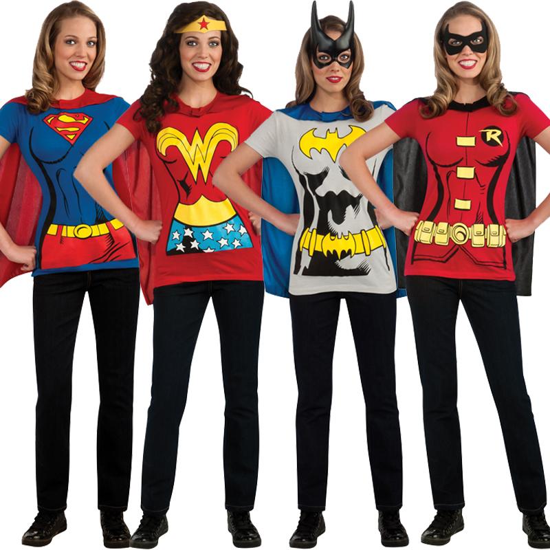 damen superheld t shirt umhang kost m film damen 39 s henne dc classics ebay. Black Bedroom Furniture Sets. Home Design Ideas