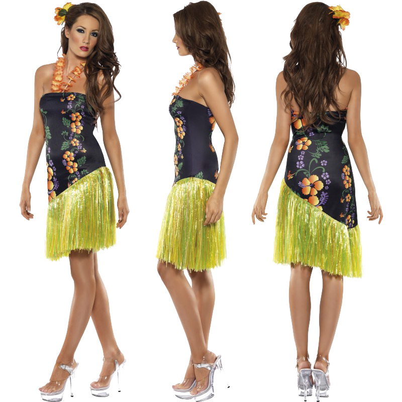 Ladies Hawaiian Fancy Dress Costume Mens Hula Summer Beach Party Outfit Luau | eBay