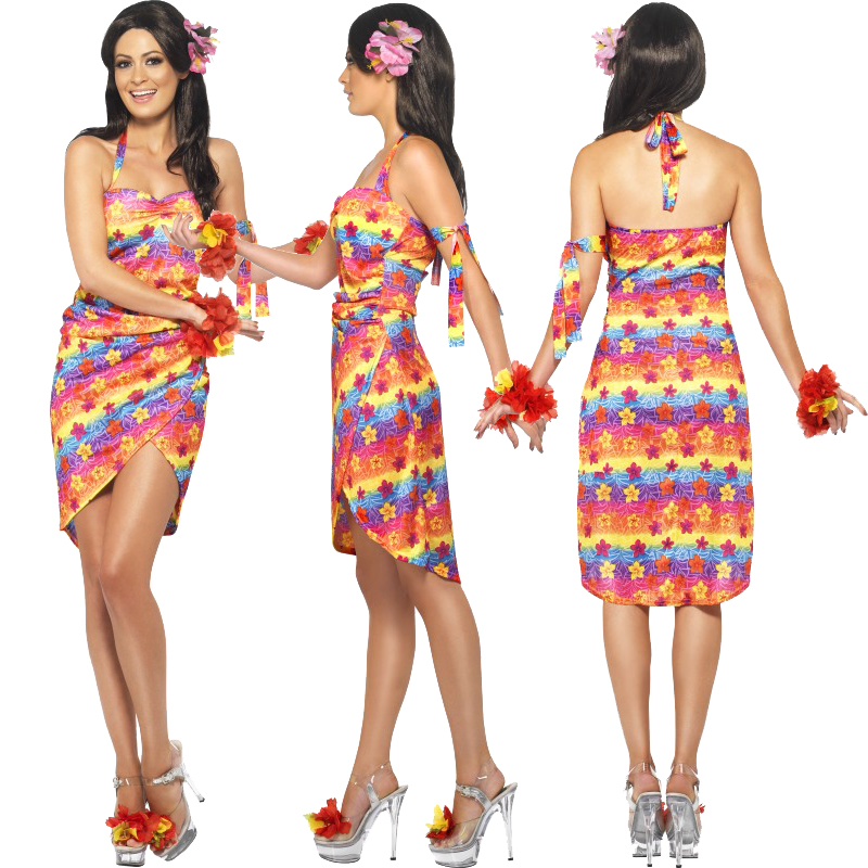 Ladies Hawaiian Fancy Dress Costume Mens Hula Summer