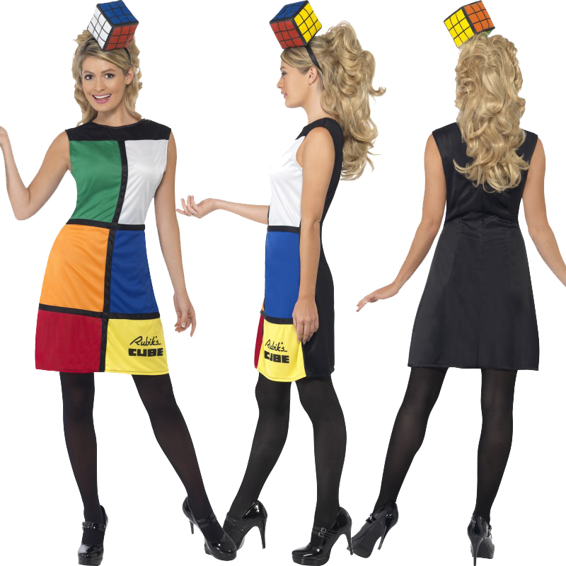 ... Licensed Rubik's Cube Puzzle 80s Fancy Dress Costume Party Outfit 3D