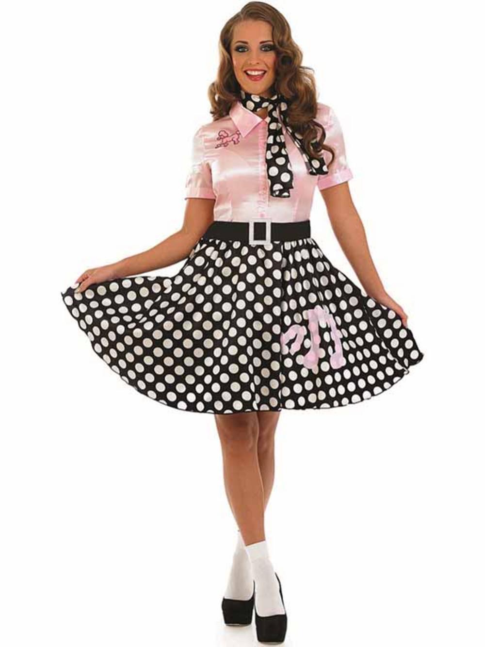 adult 50s polkadot rock n roll girl fancy dress costume. Black Bedroom Furniture Sets. Home Design Ideas