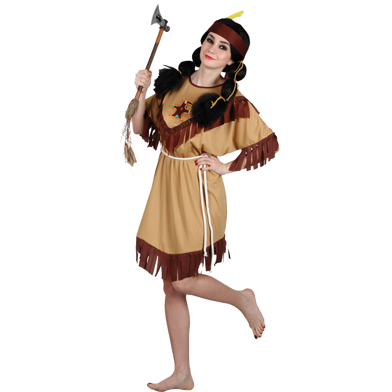 New Red Indian Fancy Dress Costume Squaw Sexy Native ...
