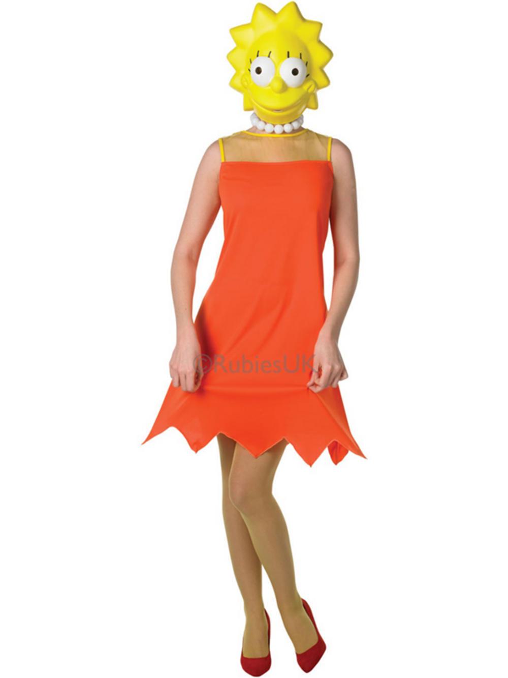 Adult The Simpsons Lisa Simpson Fancy Dress Costume Amp Mask