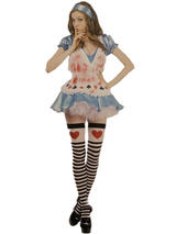 View Item Adult Bloody Zombie Alice in Wonderland Fancy Dress Costume Halloween Ladies