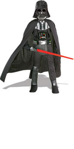 Child Ages 5-7 Super Deluxe Darth Vader Kit Inc Light Saber Fancy Dress Costume