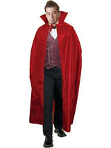 "View Item Adult Red 56"" Cape Fancy Dress Costume Halloween Horror Vampire Vampiress"