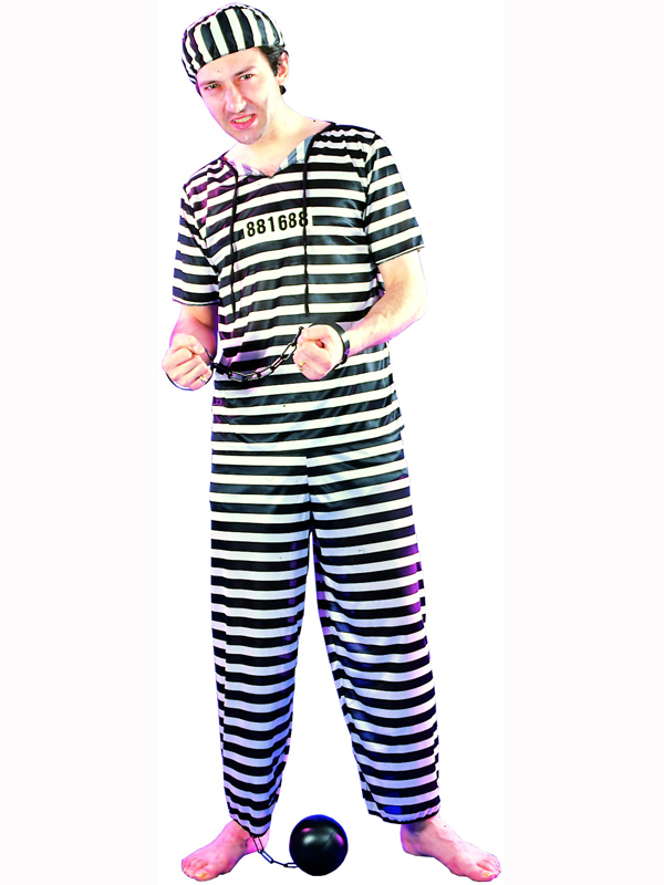 Prisoner Fancy Dress Costume Halloween Convict Jail Adult Outfit Black White New