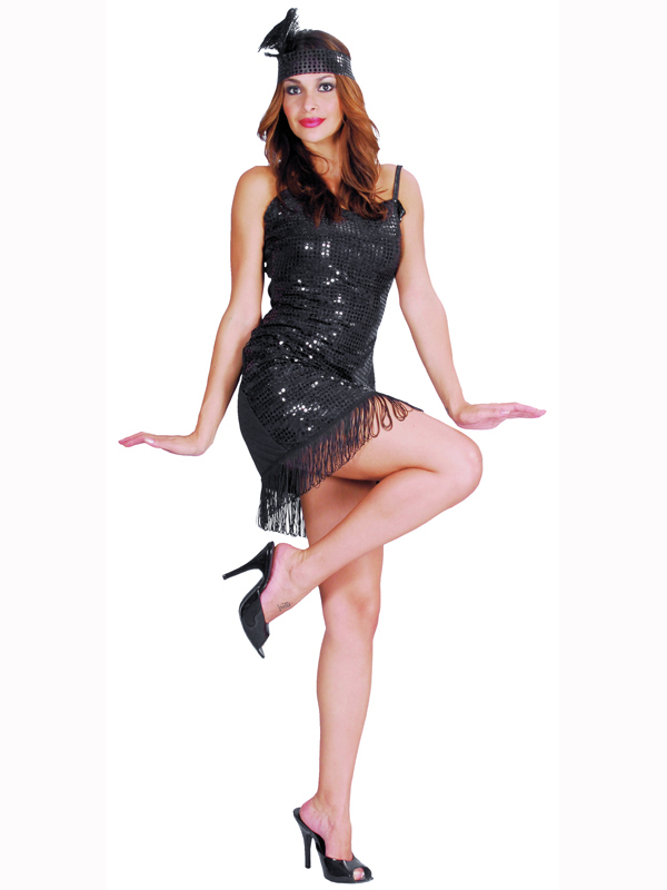 Adult Black Flapper Girl Outfit Fancy Dress Costume Sexy 1920s ...