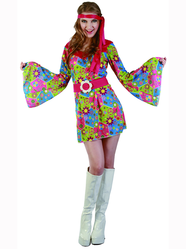 adult floral hippie fancy dress costume 60s 70s hippy flower power groovy ladies ebay. Black Bedroom Furniture Sets. Home Design Ideas