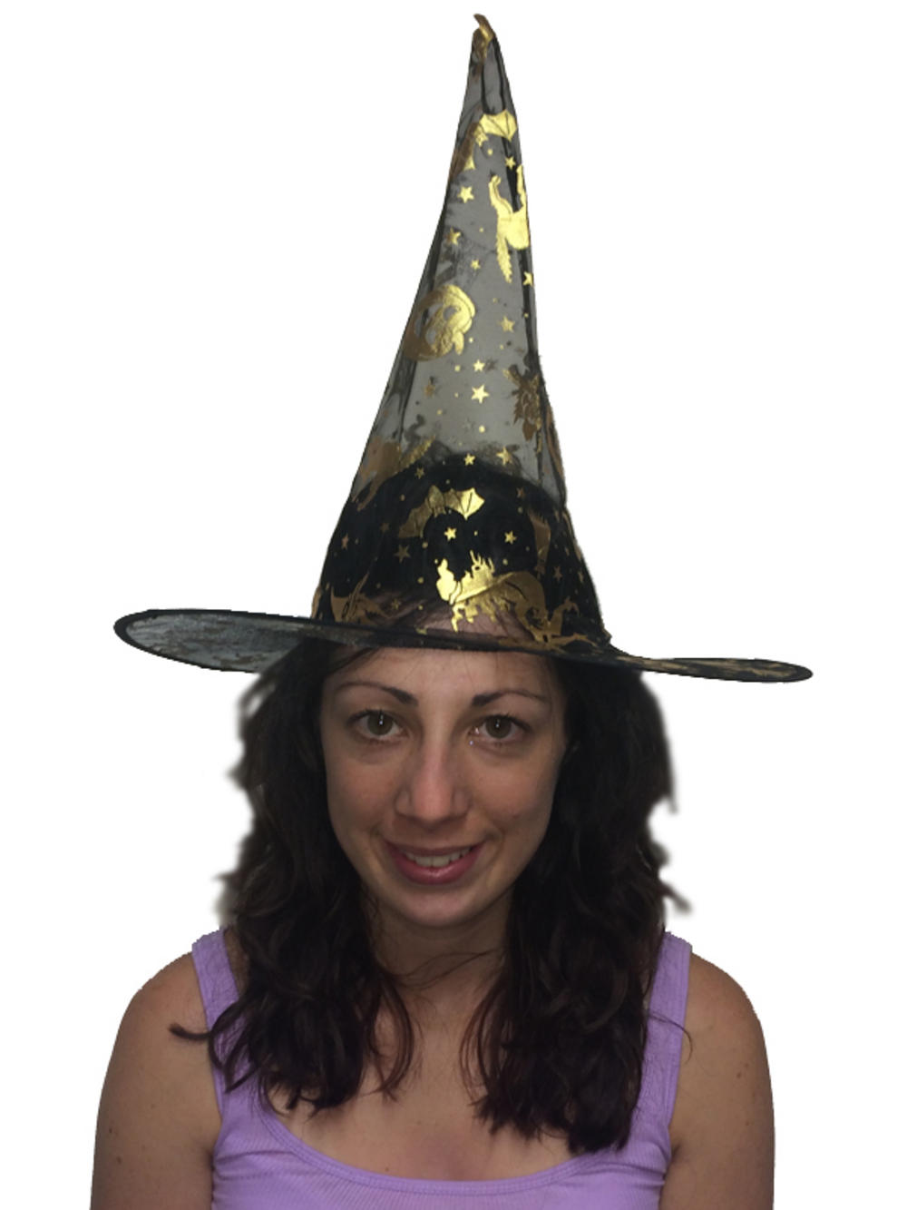 black witch hat gold pattern fancy dress