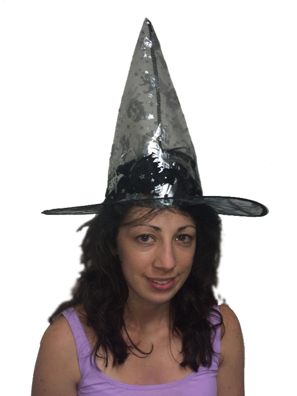 black witch hat silver pattern fancy dress