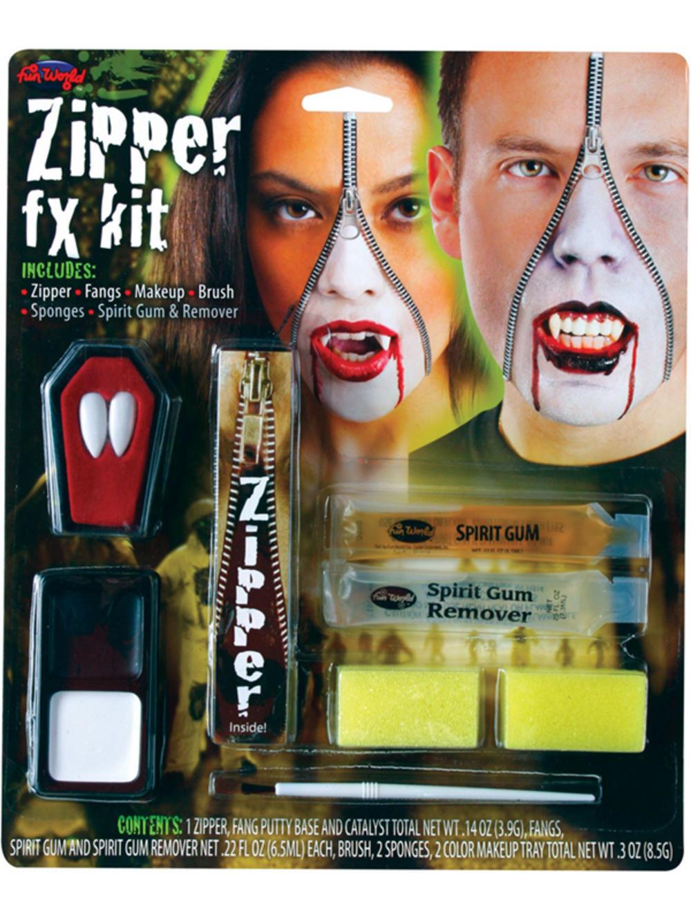 Vampire Zipper Face Kit Zip Fangs Special Effect FX Makeup ...