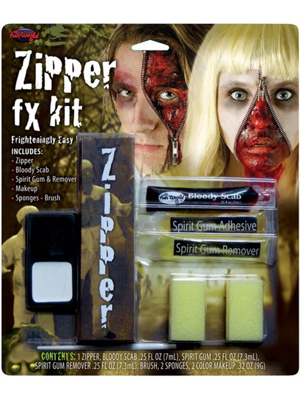 Halloween Zipper Face Scary Kit Zip Bloody Scab Special Effect FX ...