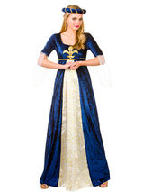 New Medieval Maiden Ladies Adult Juliet Costume Blue & Gold Tudor Sizes UK 10-28