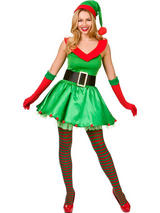 Adult Ladies Xmas Elf Fancy Dress Costume Christmas Santas Helper Outfit Xmas